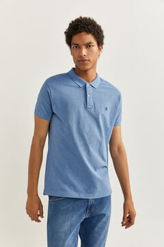 Springfield Slim overdyed piqué polo shirt blue