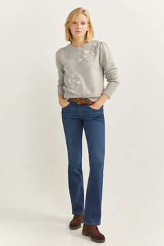 Springfield White Floral Embroidery Jumper grey mix