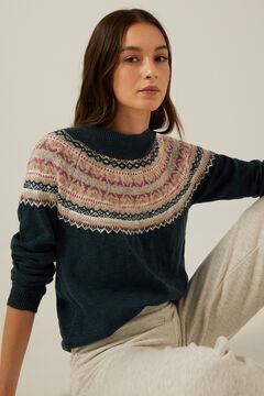 Springfield Organic cotton jacquard collar jumper navy mix