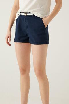 Springfield Chino shorts with belt indigo blue