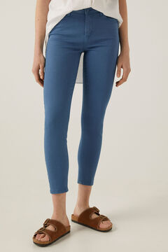 Springfield Slim cropped eco dye coloured trousers blue