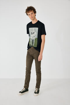 Springfield Skinny fit washed coloured 5-pocket trousers brown