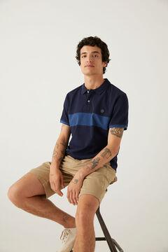 Springfield Slim stripe polo shirt bluish