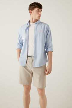 Springfield Two-tone linen belted shorts camel