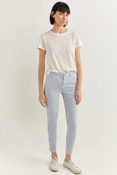 Springfield Striped Print Jeans white