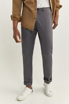 Springfield SLIM FIT WELT WAISTBAND CHINOS grey mix