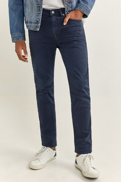 Springfield Skinny fit washed coloured 5-pocket trousers bluish