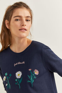 "Springfield Camisola ""Just breathe"" Flores azul"