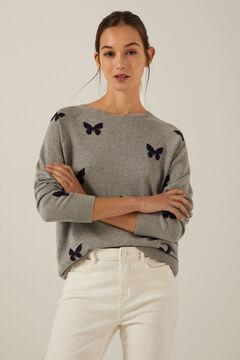 Springfield Pullover Schmetterlinge Bio-Baumwolle grau