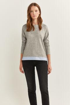Springfield Camiseta Bimateria Cuello Tachas gris