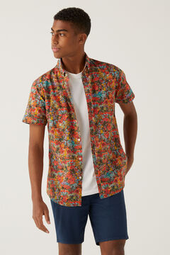 Springfield Italian printed short-sleeved shirt ecru