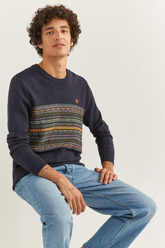 Springfield PATTERNED JACQUARD JUMPER blue