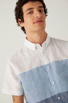 Springfield Colour block linen shirt bluish