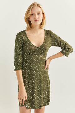 Springfield Short Button Neckline Dress green water