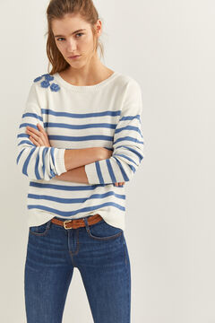 Springfield Floral Relief Striped Jumper ecru
