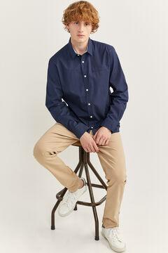 Springfield Slim fit dobby shirt bluish