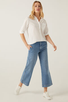 Springfield Jeans culotte taille haute bleu acier