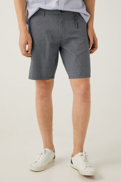Springfield Two-tone textured Bermuda shorts steel blue