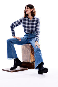 Springfield Raw hem bootcut jeans steel blue
