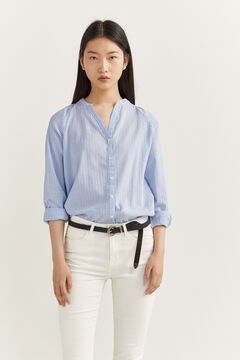Springfield BLOUSE WITH MANDARIN COLLAR indigo blue