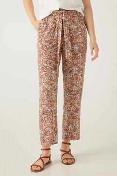 Springfield Pantalón estampado lazo cintura color