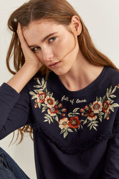Springfield Sweat-shirt Broderies Fleur Franges navy