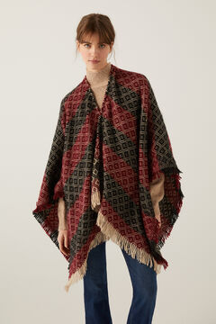 Springfield Poncho Jacquard rouge
