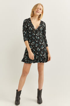 Springfield Short Floral Print Dress black