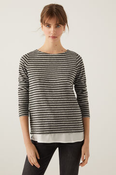 Springfield Soft Feel Two-Material Striped T-Shirt grey
