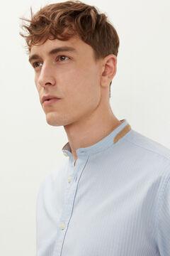 Springfield Striped dobby mandarin collar shirt indigo blue