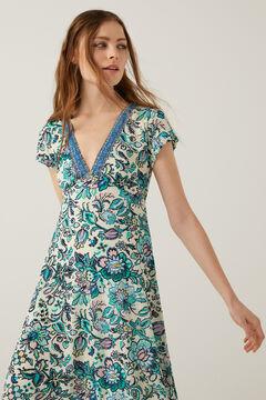 Springfield Floral print midi dress ecru