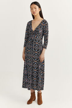 Springfield Printed knot dress ecru