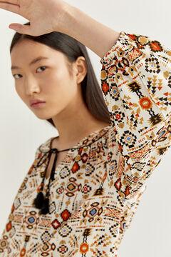 Springfield Geometric print blouse ecru
