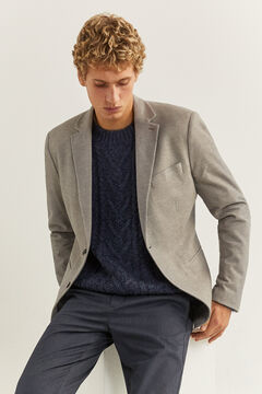 Springfield TWO-TONE TEXTURED FABRIC BLAZER grey