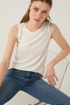 Springfield Linen effect lace sleeves t-shirt ecru