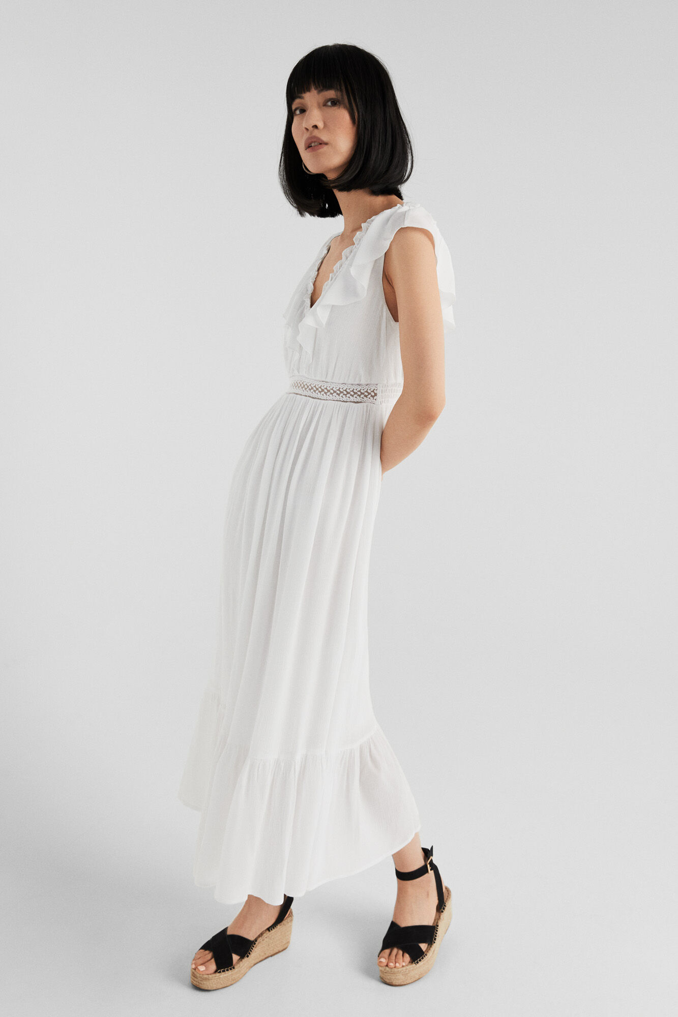 4cb95bae09 Springfield White cheesecloth dress natural