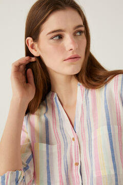 Springfield Organic cotton linen mandarin collar blouse. color