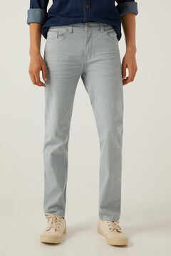 Springfield Slim fit washed 5-pocket trousers blue