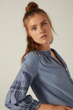 Springfield Blusa chambray bordados algodón orgánico azulado