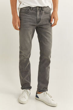 Springfield Jeans slim gris oscuro lavado gris