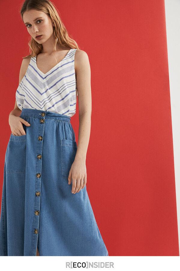 4f00ac1832 Springfield Tencel denim midi skirt blue