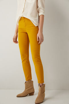 Springfield Slim Cropped Eco Dye Trousers golden