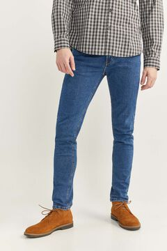 Springfield MEDIUM WASH SLIM FIT JEANS WITH RIPS steel blue