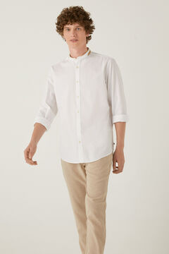 Springfield Dobby mandarin collar shirt white