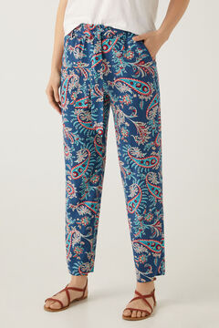 Springfield Tie waist printed trousers blue mix