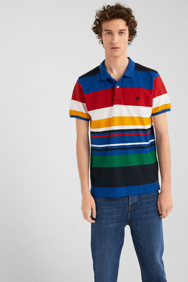 20c0981279afff Springfield Slim-fit polo shirt with irregular stripes blue