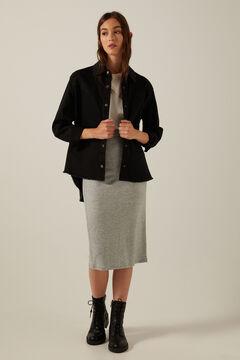 Springfield Organic cotton fringed jacket black