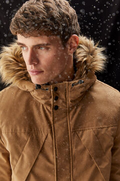 Springfield PARKA LONGUE DÉPERLANTE REMBOURRAGE DUPONT™ SORONA® KEEP IT WARM! beige