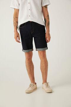 Springfield Desized wash denim Bermuda shorts navy