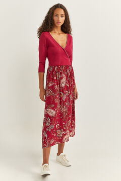 Springfield Combined Print Midi Dress camel
